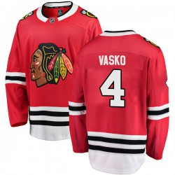 Elmer Vasko Chicago Blackhawks Youth Fanatics Branded Red Breakaway Home Jersey