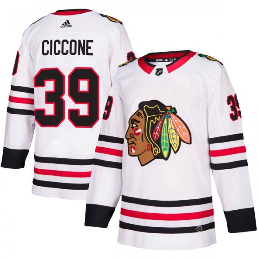 Enrico Ciccone Chicago Blackhawks Men's Adidas Authentic White Away Jersey