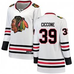 Enrico Ciccone Chicago Blackhawks Women's Fanatics Branded White Breakaway Away Jersey