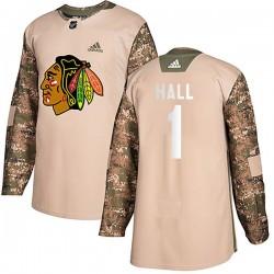 Glenn Hall Chicago Blackhawks Men's Adidas Authentic Camo Veterans Day Practice Jersey