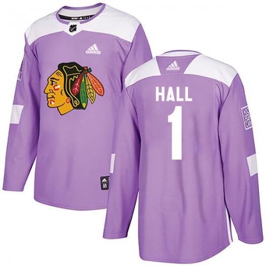 Glenn Hall Chicago Blackhawks Men's Adidas Authentic Purple Fights Cancer Practice Jersey