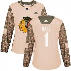 Glenn Hall Chicago Blackhawks Women's Adidas Authentic Camo Veterans Day Practice Jersey