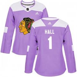 Glenn Hall Chicago Blackhawks Women's Adidas Authentic Purple Fights Cancer Practice Jersey