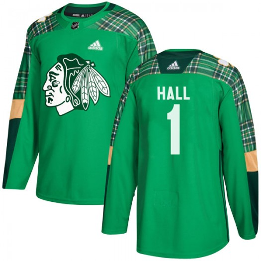 Glenn Hall Chicago Blackhawks Youth Adidas Authentic Green St. Patrick's Day Practice Jersey