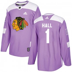 Glenn Hall Chicago Blackhawks Youth Adidas Authentic Purple Fights Cancer Practice Jersey
