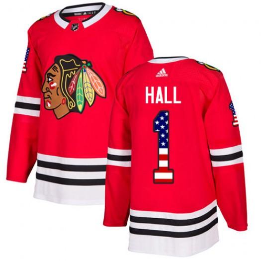 Glenn Hall Chicago Blackhawks Youth Adidas Authentic Red USA Flag Fashion Jersey