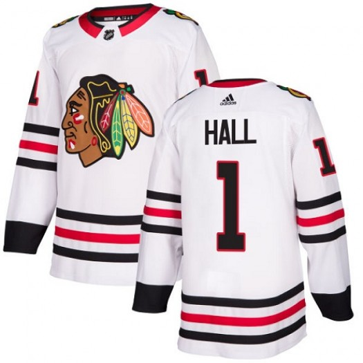 Glenn Hall Chicago Blackhawks Youth Adidas Authentic White Away Jersey