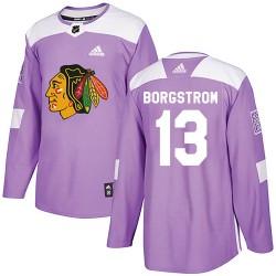 Henrik Borgstrom Chicago Blackhawks Men's Adidas Authentic Purple Fights Cancer Practice Jersey