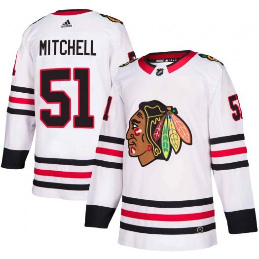 Ian Mitchell Chicago Blackhawks Men's Adidas Authentic White Away Jersey