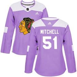 Ian Mitchell Chicago Blackhawks Women's Adidas Authentic Purple Fights Cancer Practice Jersey