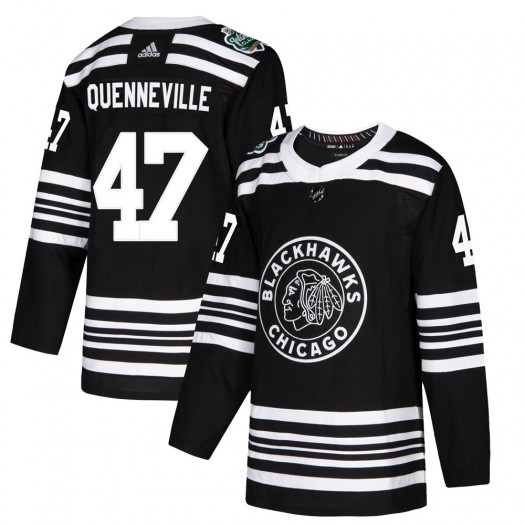 John Quenneville Chicago Blackhawks Youth Adidas Authentic Black ized 2019 Winter Classic Jersey