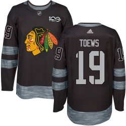 Jonathan Toews Chicago Blackhawks Men's Adidas Authentic Black 1917-2017 100th Anniversary Jersey