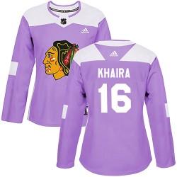 Jujhar Khaira Chicago Blackhawks Women's Adidas Authentic Purple Fights Cancer Practice Jersey