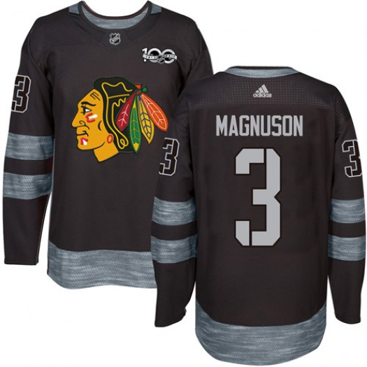 Keith Magnuson Chicago Blackhawks Men's Adidas Authentic Black 1917-2017 100th Anniversary Jersey
