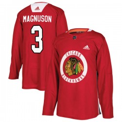 Keith Magnuson Chicago Blackhawks Men's Adidas Authentic Red Home Practice Jersey