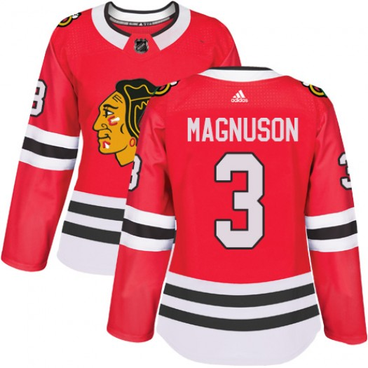 Keith Magnuson Chicago Blackhawks Women's Adidas Authentic Red Home Jersey