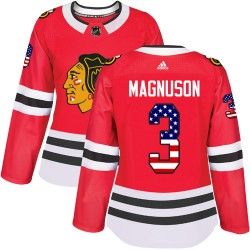 Keith Magnuson Chicago Blackhawks Women's Adidas Authentic Red USA Flag Fashion Jersey