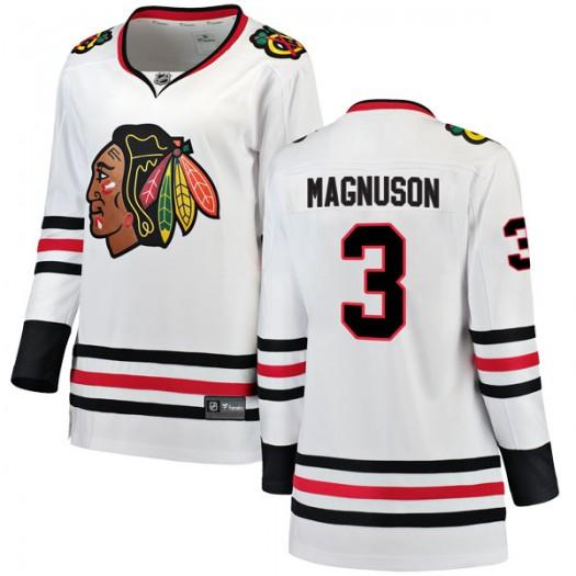 Keith Magnuson Chicago Blackhawks Women's Fanatics Branded White Breakaway Away Jersey