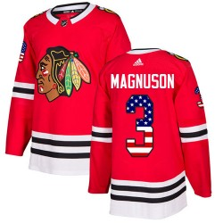 Keith Magnuson Chicago Blackhawks Youth Adidas Authentic Red USA Flag Fashion Jersey