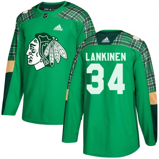 Kevin Lankinen Chicago Blackhawks Men's Adidas Authentic Green ized St. Patrick's Day Practice Jersey