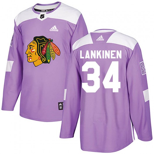 Kevin Lankinen Chicago Blackhawks Men's Adidas Authentic Purple ized Fights Cancer Practice Jersey