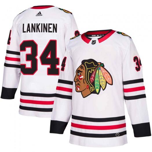 Kevin Lankinen Chicago Blackhawks Men's Adidas Authentic White ized Away Jersey