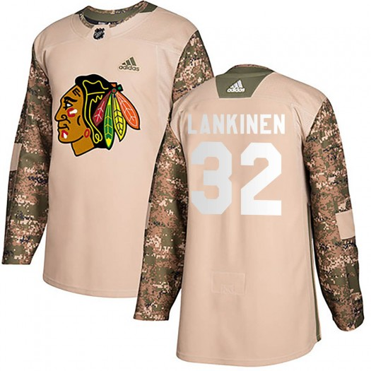 Kevin Lankinen Chicago Blackhawks Youth Adidas Authentic Camo Veterans Day Practice Jersey