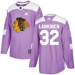 Kevin Lankinen Chicago Blackhawks Youth Adidas Authentic Purple Fights Cancer Practice Jersey