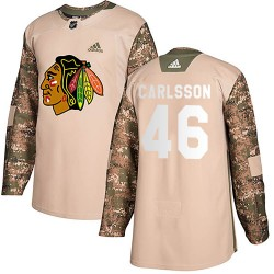 Lucas Carlsson Chicago Blackhawks Men's Adidas Authentic Camo ized Veterans Day Practice Jersey