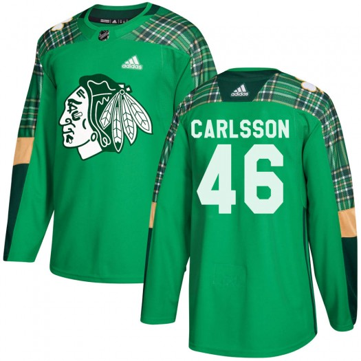 Lucas Carlsson Chicago Blackhawks Men's Adidas Authentic Green ized St. Patrick's Day Practice Jersey