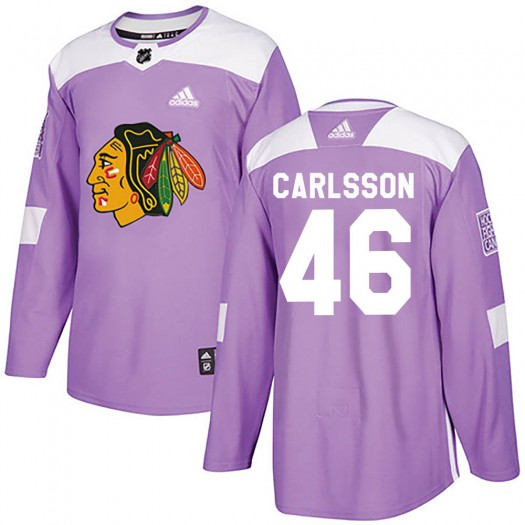 Lucas Carlsson Chicago Blackhawks Men's Adidas Authentic Purple ized Fights Cancer Practice Jersey