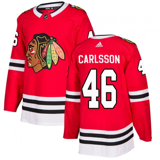 Lucas Carlsson Chicago Blackhawks Men's Adidas Authentic Red ized Home Jersey