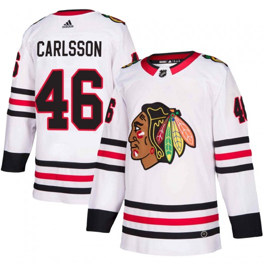 Lucas Carlsson Chicago Blackhawks Men's Adidas Authentic White ized Away Jersey