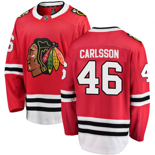 Lucas Carlsson Chicago Blackhawks Men's Fanatics Branded Red ized Breakaway Home Jersey