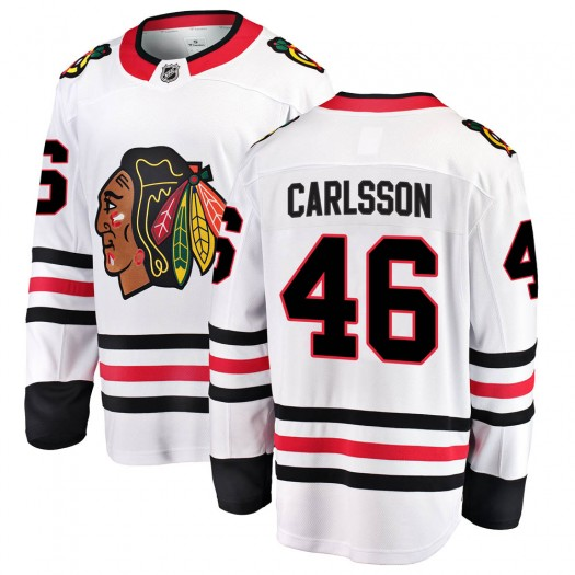 Lucas Carlsson Chicago Blackhawks Men's Fanatics Branded White ized Breakaway Away Jersey