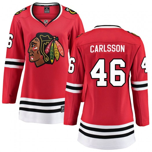 Lucas Carlsson Chicago Blackhawks Women's Fanatics Branded Red ized Breakaway Home Jersey