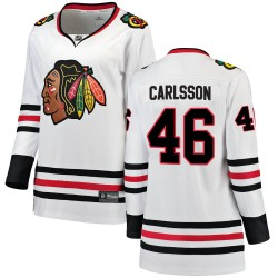 Lucas Carlsson Chicago Blackhawks Women's Fanatics Branded White ized Breakaway Away Jersey