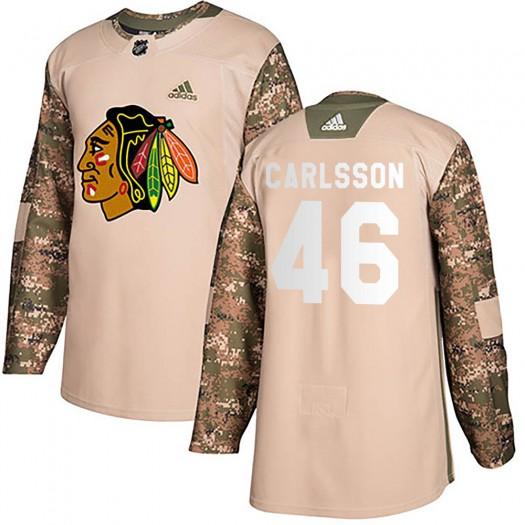 Lucas Carlsson Chicago Blackhawks Youth Adidas Authentic Camo ized Veterans Day Practice Jersey