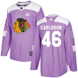 Lucas Carlsson Chicago Blackhawks Youth Adidas Authentic Purple ized Fights Cancer Practice Jersey