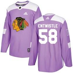 Mackenzie Entwistle Chicago Blackhawks Youth Adidas Authentic Purple ized Fights Cancer Practice Jersey