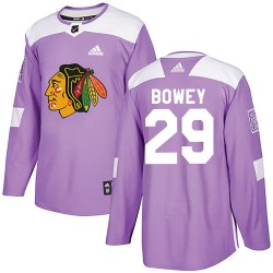 Madison Bowey Chicago Blackhawks Men's Adidas Authentic Purple Fights Cancer Practice Jersey