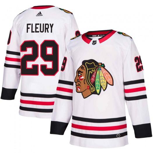Marc-Andre Fleury Chicago Blackhawks Men's Adidas Authentic White Away Jersey