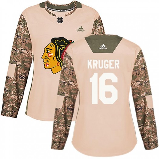 Marcus Kruger Chicago Blackhawks Women's Adidas Authentic Camo Veterans Day Practice Jersey