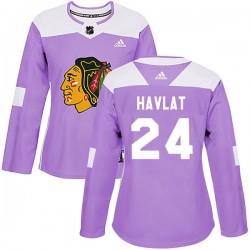 Martin Havlat Chicago Blackhawks Women's Adidas Authentic Purple Fights Cancer Practice Jersey