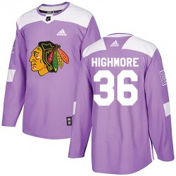 Matthew Highmore Chicago Blackhawks Men's Adidas Authentic Purple Fights Cancer Practice Jersey