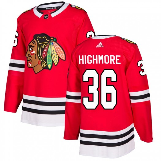 Matthew Highmore Chicago Blackhawks Men's Adidas Authentic Red Home Jersey