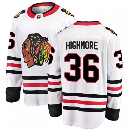 Matthew Highmore Chicago Blackhawks Men's Fanatics Branded White Breakaway Away Jersey