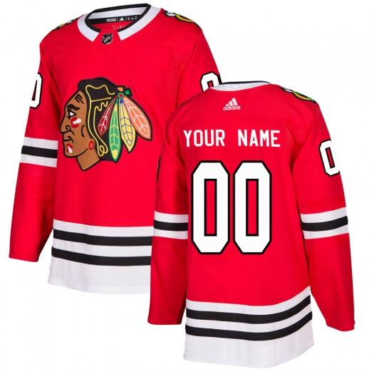 Men's Adidas Chicago Blackhawks Customized Authentic Red Home Jersey
