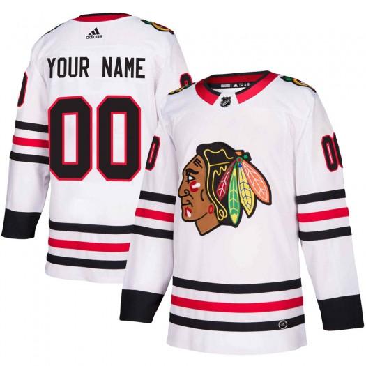 Men's Adidas Chicago Blackhawks Customized Authentic White Away Jersey