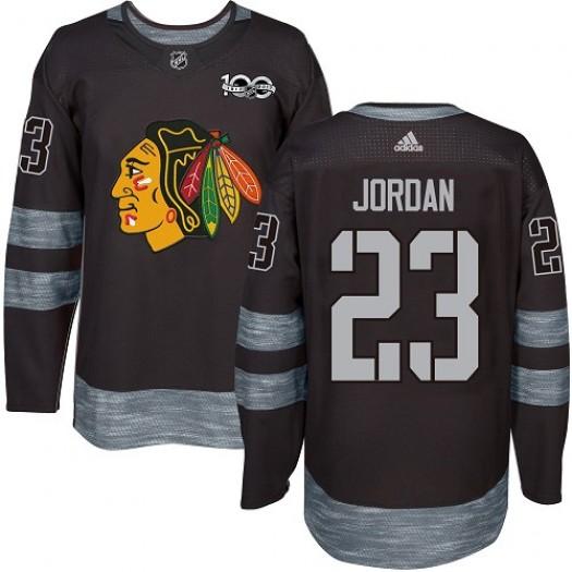 Michael Jordan Chicago Blackhawks Men's Adidas Authentic Black 1917-2017 100th Anniversary Jersey
